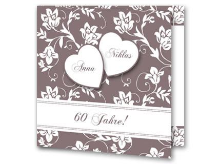 Einladungskarten Diamantene Hochzeit   Einladung Diamantene Hochzeit  Jb1908092, Vk. Hochzeitseinladung Diamanthochzeit Braun Blätter Jb1908092vk