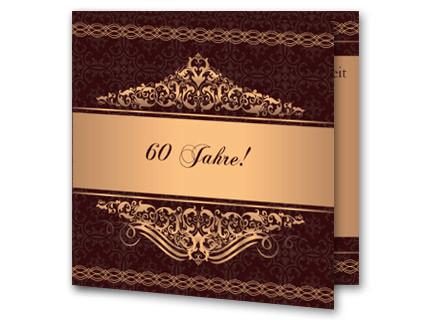 Einladungskarten Diamantene Hochzeit   Einladung Diamantene Hochzeit  Mk1908093, Vk. Hochzeitseinladung Diamanthochzeit Braun Goldgelb Mk1908093vk