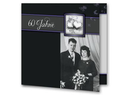 Einladungskarten Diamantene Hochzeit   Einladung Diamantene Hochzeit  Rb1908086, Vk. Hochzeitseinladung Diamanthochzeit Dunkelgrau Foto  Rb1908086vk