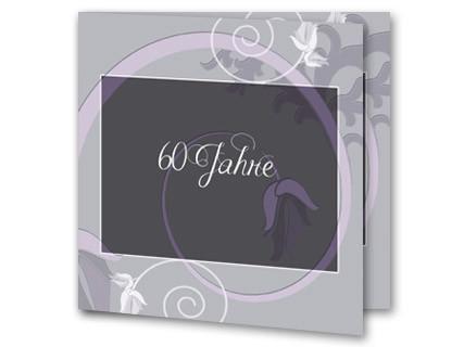 Einladungskarten Diamantene Hochzeit   Einladung Diamantene Hochzeit  Rb1908088, Vk. Hochzeitseinladung Diamanthochzeit Pastelllila Schnörkel  Rb1908088vk