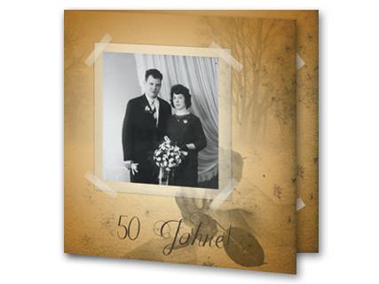Einladung Zur Goldhochzeit Vintage Fotokarte