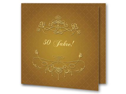 Einladungskarten Goldhochzeit Motiv Blumen Goldene Hochzeit