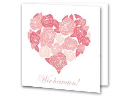 Hochzeitseinladung Herz Aus Rosa Rosen Quadratisch