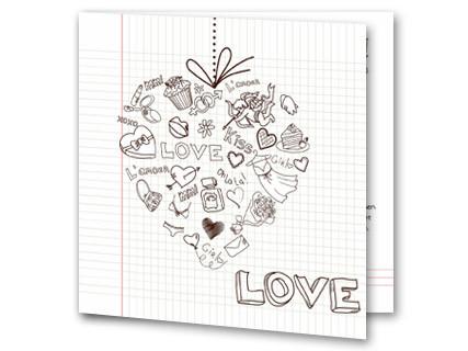 Hochzeitseinladung Herz Sketch Auf Collegeblock