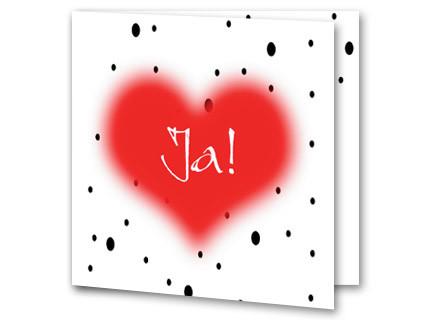 Hochzeitskarte Mit Herz Und Schwarzen Punkten
