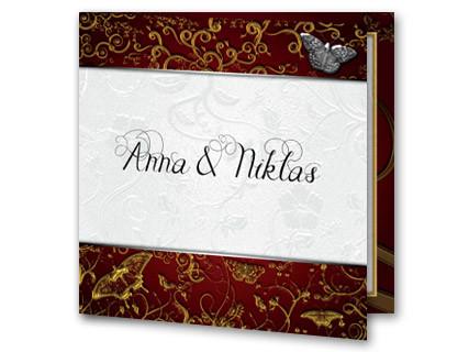 Hochzeitseinladung Klassisch Goldschmetterlinge