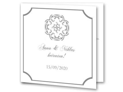 Hochzeitseinladung Klassisch In Weiss Mit Grauem Rand