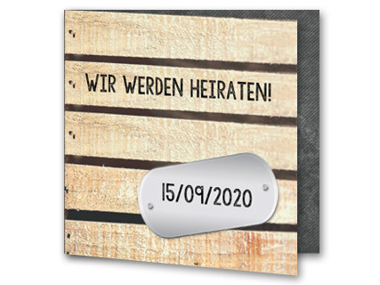 Hochzeitskarte Mit Hozbretter Motive Und Datumplakette