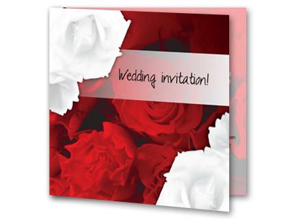 Moderne Hochzeitskarte Mit Rosen Weiss Und Rot