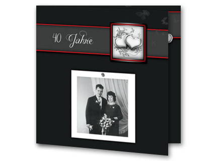 einladung rubinhochzeit mit fotorahmenentwurf, Einladung