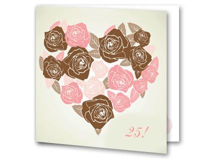 einladung zur silberhochzeit mit herz aus rosen, Einladung