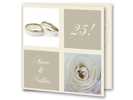 Einladung Zur Silberhochzeit Mit Ring Und Blume