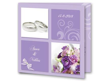 Hochzeitseinladung Mit Lila Blumen Und Ringen