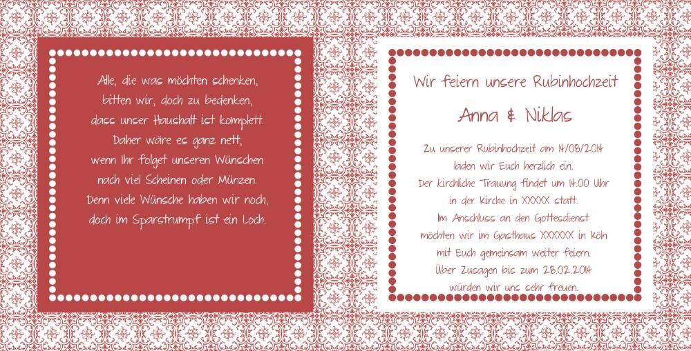 Einladung Rubinhochzeit im Lanhausstil in rot
