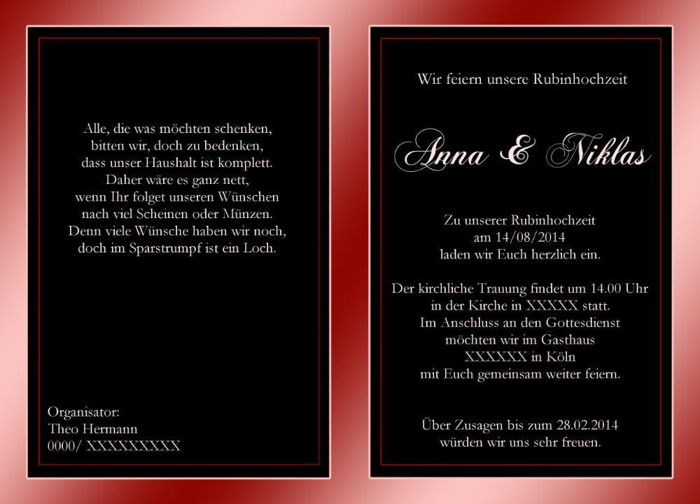 hochzeitskarte rubinhochzeit zum 40 järigem jubiläum, Kreative einladungen