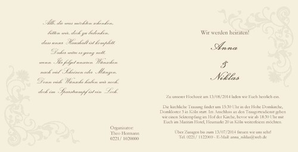 Hochzeitseinladung Mit Silberringen Auf Weisser Rose