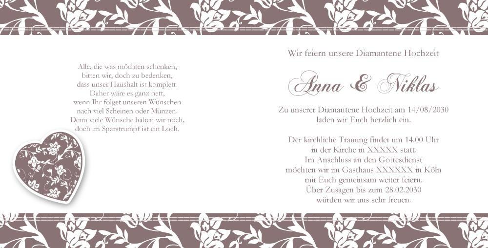 Hochzeit sprüche diamantene einladungskarten Diamantene Hochzeit