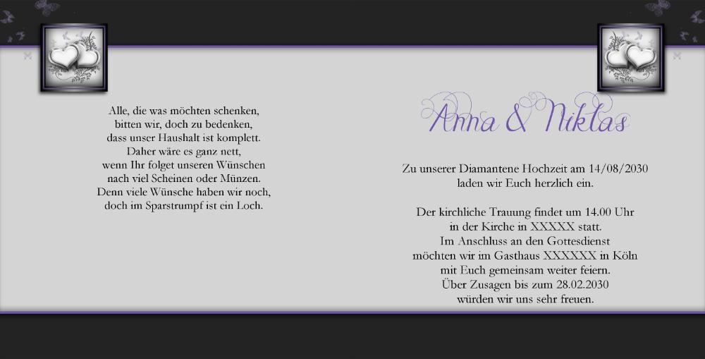 Schön Einladung Diamantene Hochzeit Text U2013 Cloudhash, Einladungs