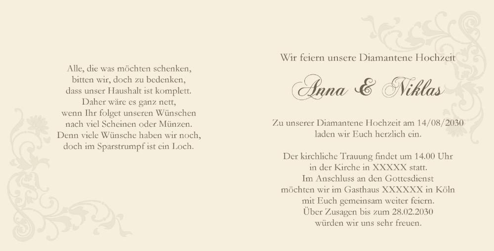 Einladung Zur Diamanthochzeit Weisse Rose Und Ringe