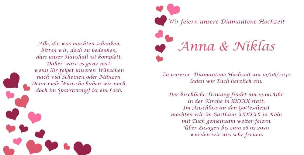 Einladung zur diamanthochzeit in wei mit herzen - Hochzeitseinladung text modern ...
