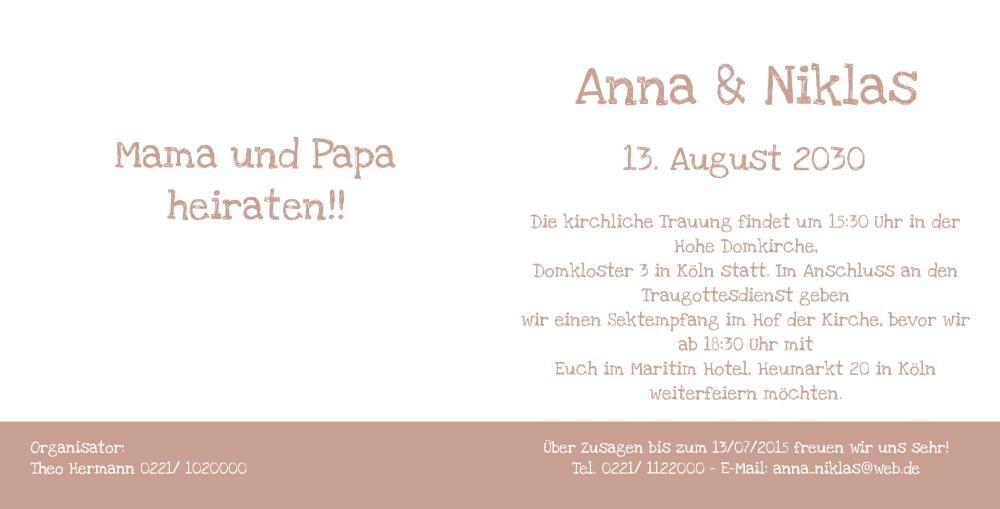 Mama und papa heiraten save the date