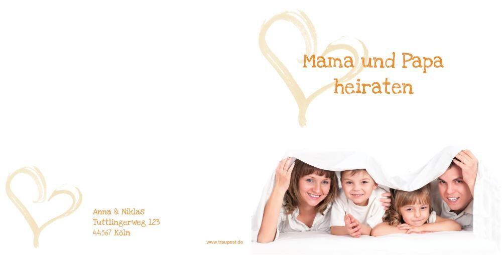 Hochzeitseinladung Elternhochzeit Foto Weiß Mak16014 Rückseite/Vorderseite  Hochzeitseinladung ...