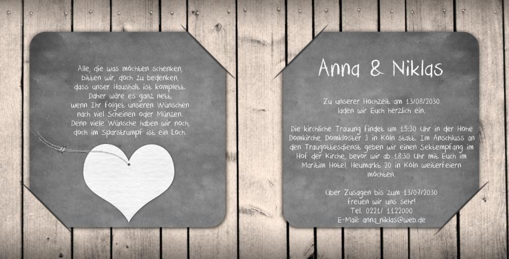 Hochzeitseinladung mit schwarzem bilderrahmen for Hochzeitseinladung holz