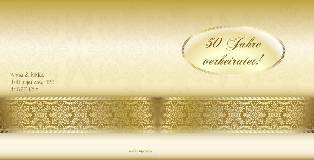 Einladung Zur Goldhochzeit In Gold Mit Gravurleiste