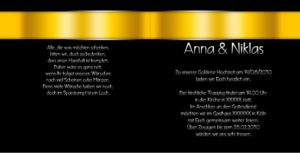 Hochzeitseinladung Goldhochzeit Schwarz Gold rb1908052vk Innenseite