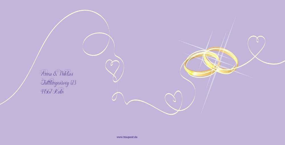 Hochzeitskarte Mit Zwei Ringen Und Zwei Herzen