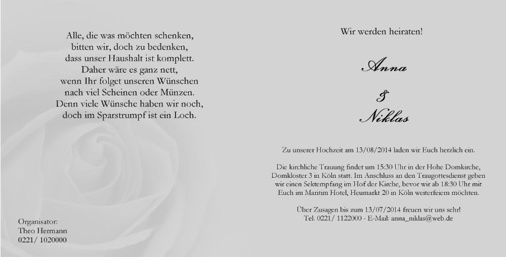Schwarz Weiss Hochzeitskarte Mit Rose Und Ringen