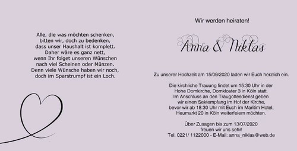 Hochzeitseinladungen g nstig online - Hochzeitseinladung text modern ...
