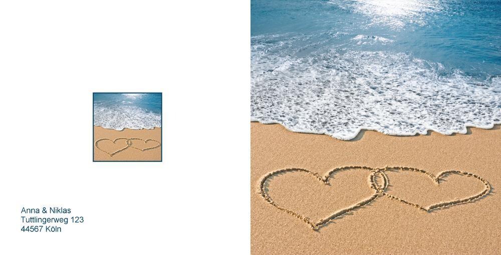 Hochzeitseinladung Herzen Strand Ozean Rückseite/Vorderseite  Hochzeitseinladung ...