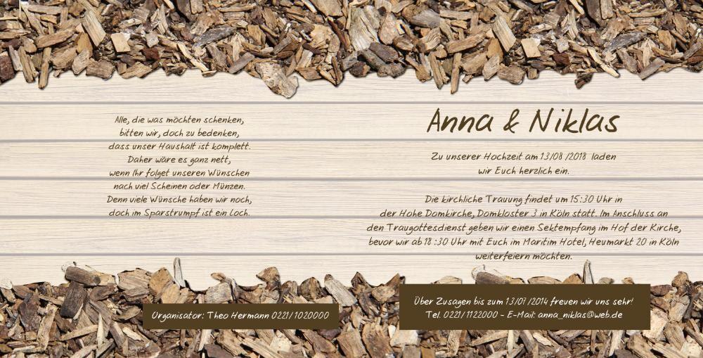 Hochzeitseinladungen g nstig online for Hochzeitseinladung holz