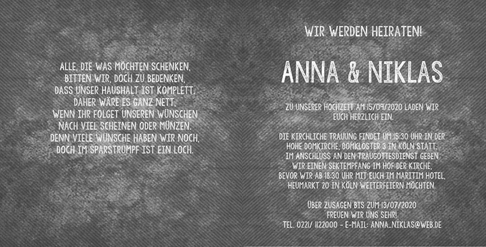 Hochzeitskarte modern wei mit violettem rand - Hochzeitseinladung text modern ...