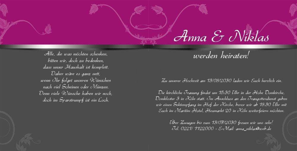 Hochzeitskarte modern in silber mit ornamenten - Hochzeitseinladung text modern ...