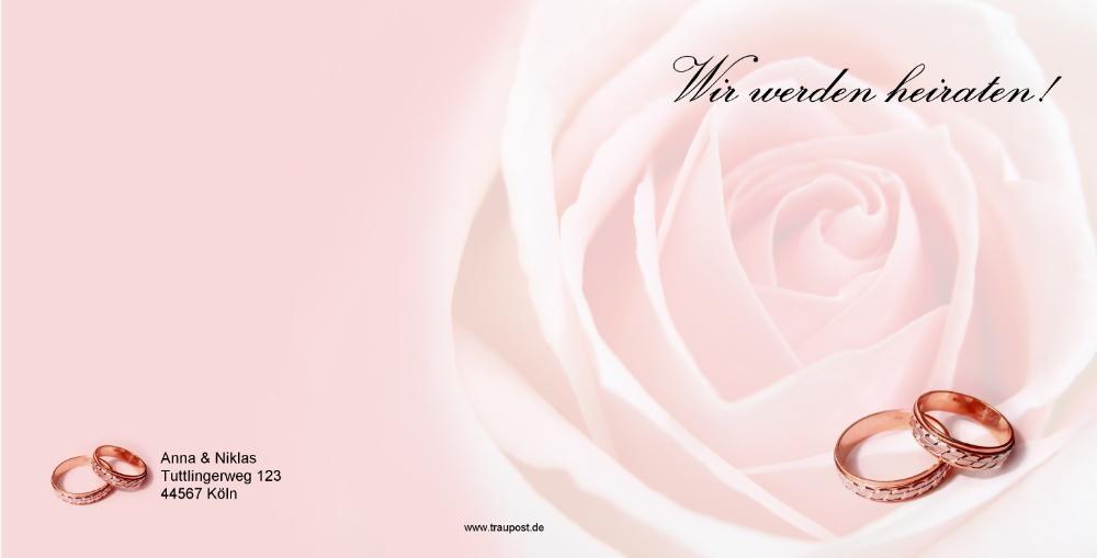 Quadratische Hochzeitskarte Mit Ringen Auf Rosa Rose