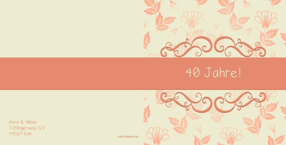 einladung rubinhochzeit mit herbstblättern, Einladung