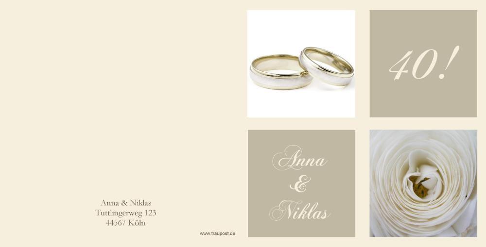 einladung rubinhochzeit klassisch mit ring und blume, Einladung