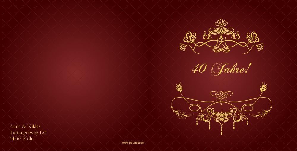 einladung rubinhochzeit in rot mit barock verzierung, Kreative einladungen