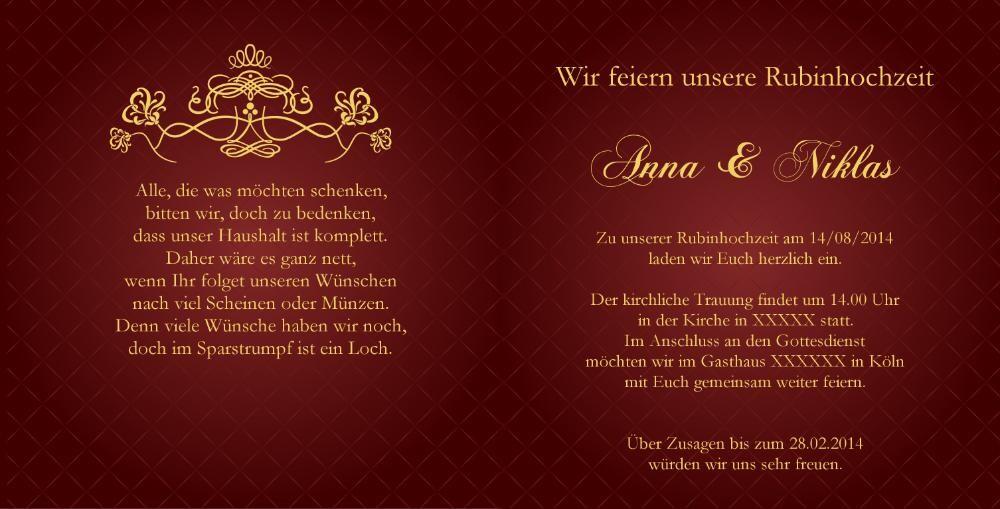 einladung rubinhochzeit in rot mit barock verzierung, Einladung