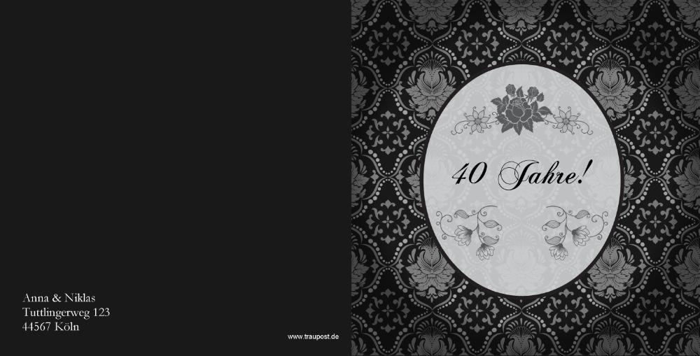 einladung rubinhochzeit mit mandalas auf grau, Einladung