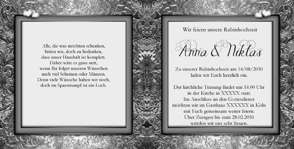 einladung rubinhochzeit mit silbernen gravuren, Einladung