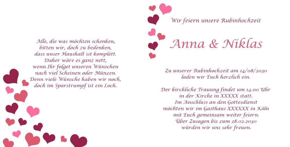 Einladung rubinhochzeit mit vielen kleinen roten herzen - Hochzeitseinladung text modern ...