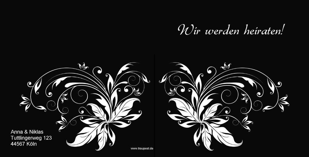 Trendy Hochzeitseinladung mit Blumentattoo Muster