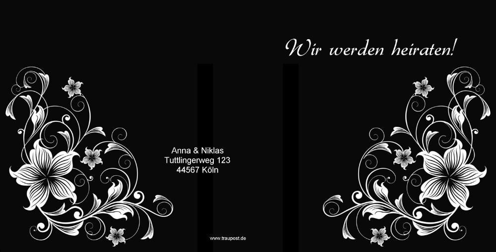 Hochzeitskarte Mit Blumentattoo Weiss Auf Schwarz