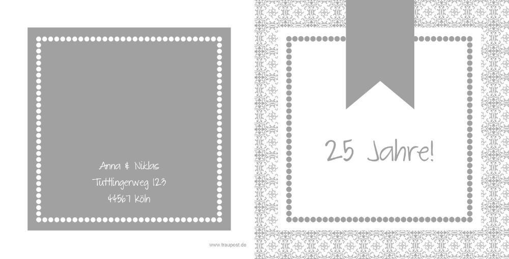 Hochzeitseinladung Silberhochzeit Grau Weiß Mk18081004vk  Rückseite/Vorderseite Hochzeitseinladung ...