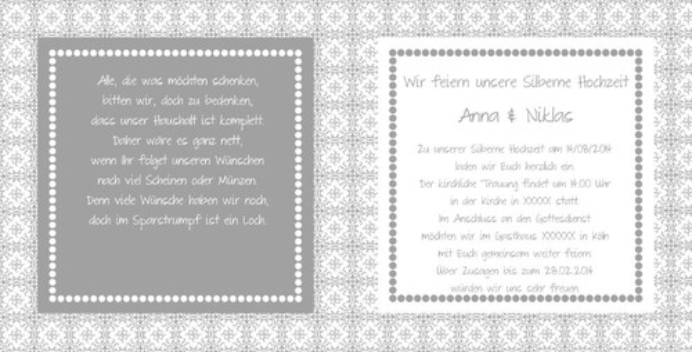 einladung zur silberhochzeit im landhausstil grau weiß, Einladungen