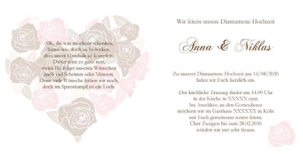 Einladung Zur Diamanthochzeit Rosen Die Herz Formen