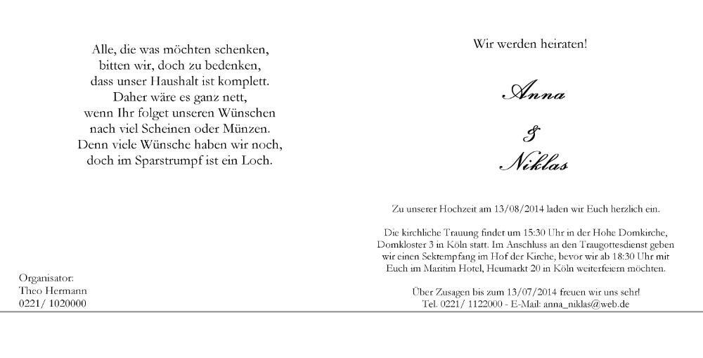 Hochzeitskarte Mit 2 Ringen In Schwarz Weiss